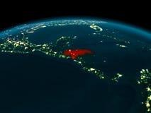 Vue d'orbite du Honduras la nuit Photographie stock libre de droits