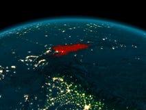 Vue d'orbite du Kirghizistan la nuit Image libre de droits