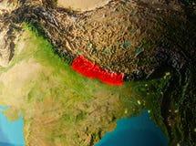 Vue d'orbite du Népal Photo libre de droits