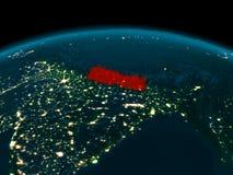 Vue d'orbite du Népal la nuit Photos stock