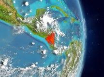 Vue d'orbite du Nicaragua en rouge Image stock