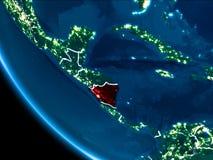 Vue d'orbite du Nicaragua la nuit Image libre de droits