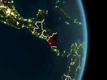 Vue d'orbite du Nicaragua la nuit Images stock