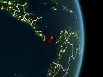 Vue d'orbite du Panama la nuit Photos stock