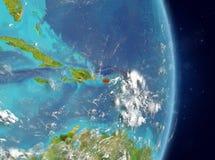 Vue d'orbite du Porto Rico en rouge Images libres de droits