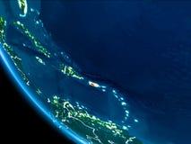 Vue d'orbite du Porto Rico la nuit Photos libres de droits
