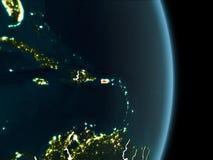 Vue d'orbite du Porto Rico la nuit Photo libre de droits