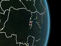 Vue d'orbite du Rwanda la nuit Photographie stock