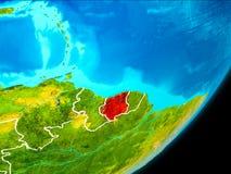 Vue d'orbite du Surinam Image libre de droits