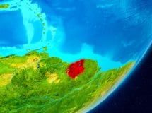 Vue d'orbite du Surinam en rouge Images libres de droits