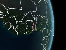 Vue d'orbite du Togo la nuit Image stock
