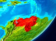 Vue d'orbite du Venezuela en rouge Photographie stock libre de droits