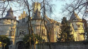Vue d'un château allemand vu derrière les arbres photos stock
