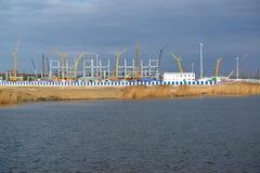 Vue d'un chantier de stade pour effectuer des jeux de coupe du monde de theFIFA de 2018 Kaliningrad Photos stock