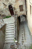Vue d'un escalier escarpé dans la ville de Pérouse Images libres de droits