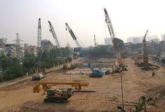 Vue d'un site en construction d'un bâtiment Images stock