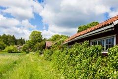 Vue d'un vieux village en Suède Photo stock