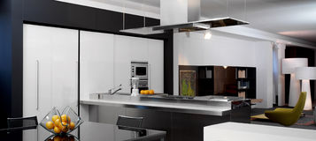 Vue d'une cuisine moderne Photo libre de droits
