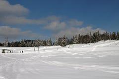 Vue d'une pente de ski Photographie stock