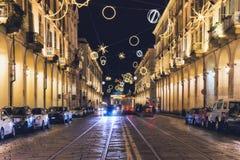 Vue d'une rue principale de Turin Photo libre de droits