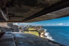 Vue d'une soute dans Castillo De San Cristobal Photos stock