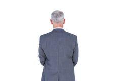 Vue d'usage d'homme d'affaires avec les cheveux gris image stock