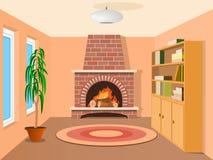Vue dans la chambre avec la cheminée Photos libres de droits