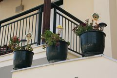 Vue dans le pot de fleur sur le porche photos libres de droits