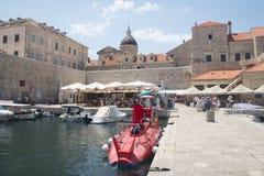 Vue dans les rues de Dubrovnik, Croatie Photographie stock libre de droits