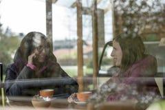 Vue dans un restaurant par une fenêtre d'enj de sourire de deux femmes Photos stock