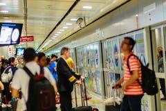 Vue de à l'intérieur de la liaison ferroviaire d'aéroport international de Suvarnabhumi Images stock