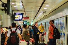 Vue de à l'intérieur de la liaison ferroviaire d'aéroport international de Suvarnabhumi Images libres de droits