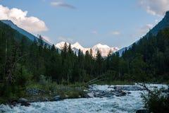 Vue de bâti Belukha, de taiga et de rivière Akkem photographie stock libre de droits
