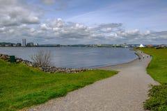 Vue de baie de Cardiff du Barage Photographie stock