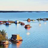Vue de baie de Yellowknife Photo stock