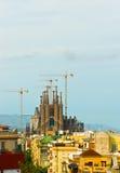 Vue de Barcelone à la cathédrale de Sagrada Familia Image stock