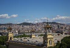 Vue de Barcelone de bâti Montzhuik Images libres de droits