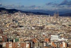 Vue de Barcelone de colline de Montjuic Photographie stock libre de droits