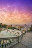 Vue de Barcelone de Montjuic images libres de droits