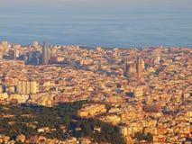 Vue de Barcelone de Tibidano, Espagne image libre de droits