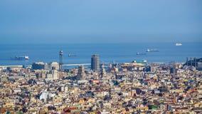 Vue de Barcelone de Tibidano, Espagne Images libres de droits