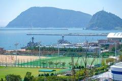Vue de base navale de Busan dans la ville de Busan, Corée du Sud photos stock