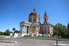 Vue de basilique de Superga dans la ville de Turin, Italie photographie stock