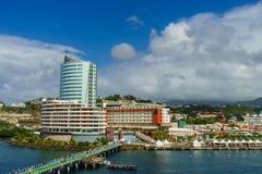 Vue de bateau de croisière de Fort de France la Martinique de port photo stock