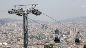 Vue de benne suspendue de Barcelone Photos libres de droits