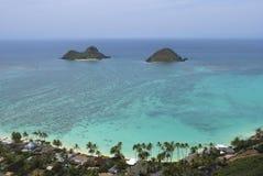 Vue de boîte à pilules de Lanikai d'îles d'Oahu Mokulua photographie stock