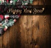 Vue de 2018 bonnes années et de Joyeux Noël avec la neige et le rea Image libre de droits