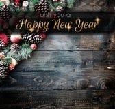 Vue de 2018 bonnes années et de Joyeux Noël avec la neige et le rea Images stock