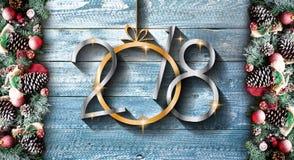 Vue de 2018 bonnes années et de Joyeux Noël avec la neige et le rea Photos libres de droits