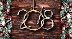 Vue de 2018 bonnes années et de Joyeux Noël avec la neige et le rea Photographie stock libre de droits